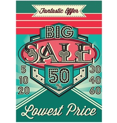Template vintage poster for the big sale vector
