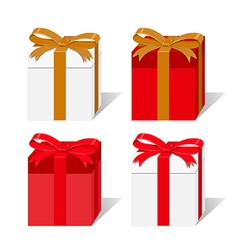 Set of white and red gift boxes isolated vector image