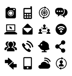 Communication and internet icons set vector