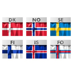 Scandinavian flags vector