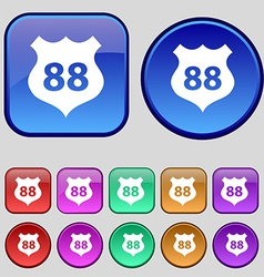 Route 88 highway icon sign a set of twelve vintage vector