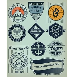 Vintage insignias and logotypes set design vector