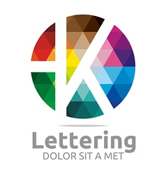 Logo abstract lettering k rainbow alphabet icon vector