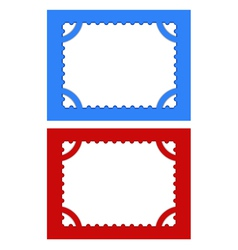 Postage stamps with perforations on different back vector