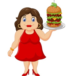 Cartoon overweight woman holding fast food vector