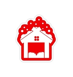 Paper sticker on white background barn in snow vector