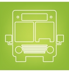 Bus line icon on green background vector