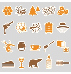 Set of honey theme stickers icons eps10 vector