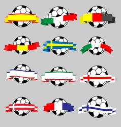 Ribbons of europe with football vector