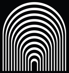 black and white circular lines tunnel vector image