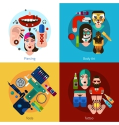 Bodyart tattoo piercing 2x2 set vector