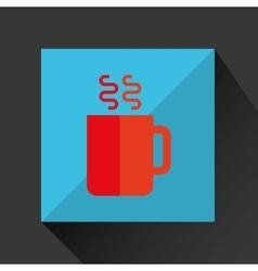 Cartoon cup coffee hot with shadow green vector