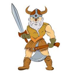 Cartoon image of viking warrior vector