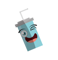 Cartoon plastic cup soda straw wink vector