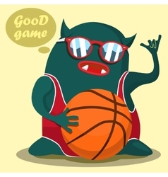 cool basketball monster graphic vector image vector image