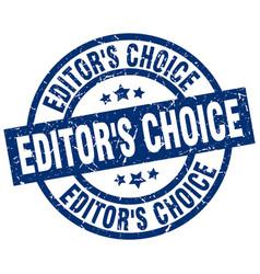 Editors choice blue round grunge stamp vector
