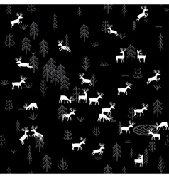 Forest life deers seamless pattern black vector