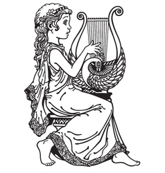 Girl playing lyre black white vector