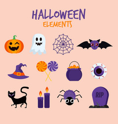 halloween-elements-on-pink-background vector image