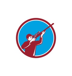 Hunter shooting up rifle circle retro vector