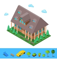 Isometric Rural Cottege Building House vector image vector image