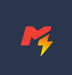Letter m lightning logo icon design template vector