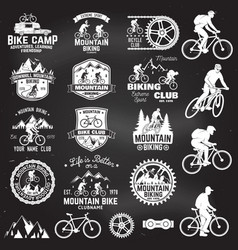 mountain biking collection vector image vector image