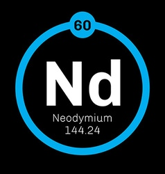 Neodymium chemical element vector image