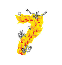 Number 7 hellish flames and sinners font fiery vector