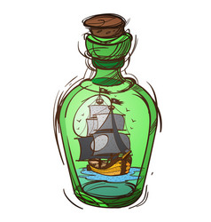 pirate frigate in a green glass bottle sketch of vector image