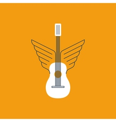 Rock guitar acoustic music thin lines icon and vector