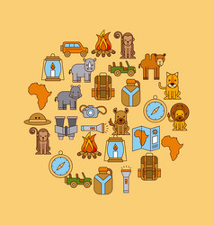 safari africa animlas equipment round seamless vector image vector image