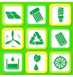 Set of 9 retro icons of renewable energy vector