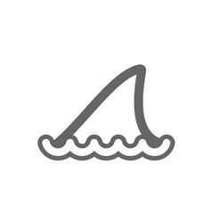 shark fin outline icon summer vacation vector image