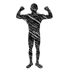 silhouette drawing big muscle man fitness vector image
