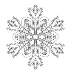 Snow flake in zentangle style freehand doodle vector
