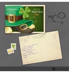 St Patricks Day Postcard Design vector image