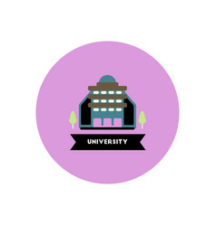 Stylish icon in color circle building university vector
