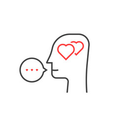 thin line profile of lover head vector image