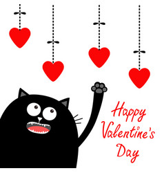 Valentines day black cat looking up to hanging vector