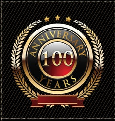 100 years anniversary golden label vector image