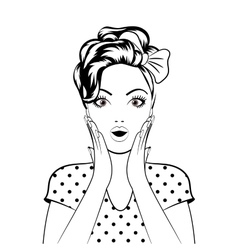 Black line art woman face vector image