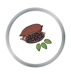Roasted cacao beans icon in cartoon style isolated vector