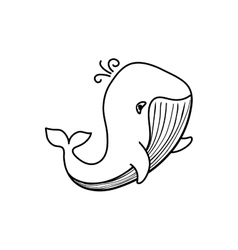 Sea whale cartoon vector