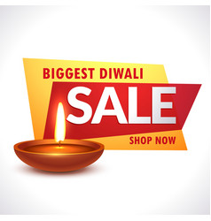 biggest diwali sale banner with realistic diya vector image
