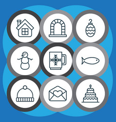 set of 9 celebration icons includes winter cup vector image