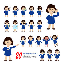 20 businesswoman characters vector image