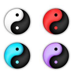 Set of yin-yang circle icon vector image