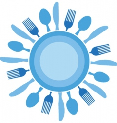 dinner table setting vector image