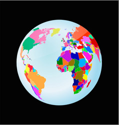 3d globe with political world map vector image vector image